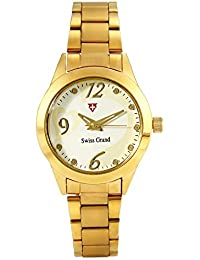 Swiss Grand SG-1161 Golden Coloured With Gold Stainless Steel Strap Analog Quartz Watch For Women