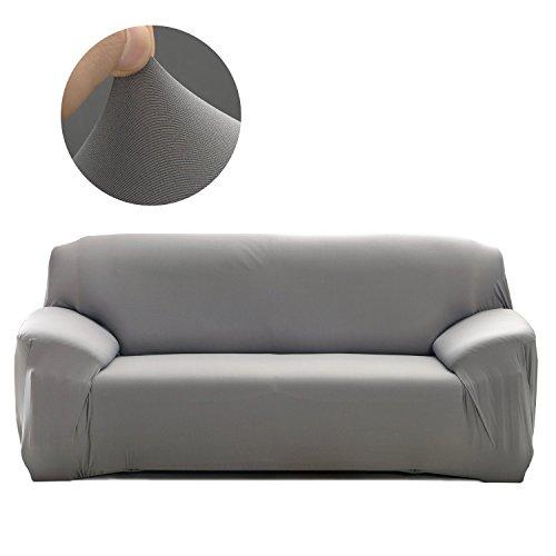 Cornasee Elastischer Sofabezug 3 Sitzer, Sofa-Überwürfe Sofahusse Couchhusse Spannbezug für Sofa mit Armlehne,Grau