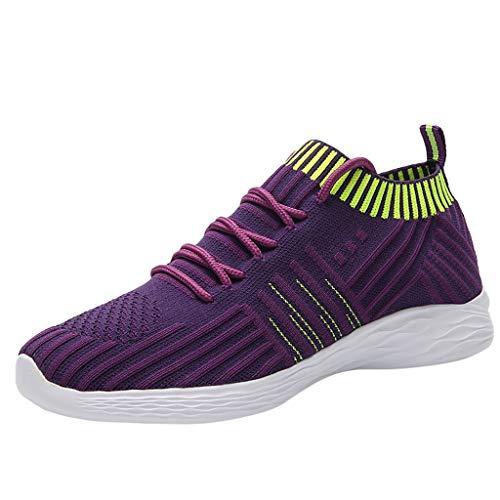 Deloito Damen Sneaker Leichte Modische Turnschuhe Fliegendes Weben Socken Sport Schuhe Schüler Freizeit Atmungsaktiv Laufschuhe (41 EU, Lila-02)