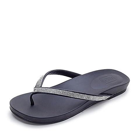 Super Large Size Shoes/Summer Sandals/Add Fertilizer Flat Bottom Herringbone Drag-A Foot (Bead Trim Top)