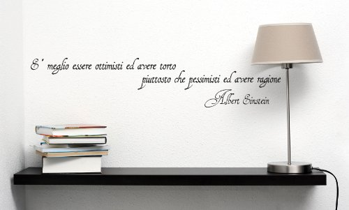 "Newsbenessere.com 41o0iKk6lwL Adesivo murale ""Albert Einstein: è meglio essere ottimisti"" Wall Sticker Vinyl Decal adesivo prespaziato in vinile design arredamento per decorazione pareti e muri"