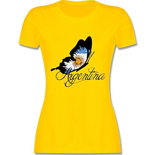 Länder - Argentina Schmetterling - tailliertes Premium T-Shirt mit  Rundhalsausschnitt für Damen Gelb
