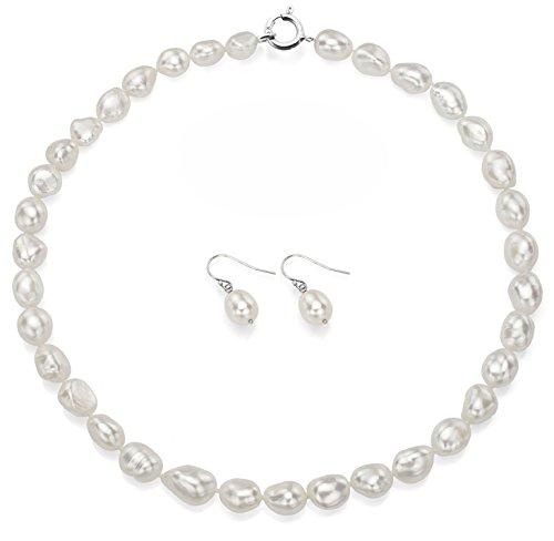 Sterling Argento 10-10.5mm Barocco bianco collana di perle d' acqua dolce 18