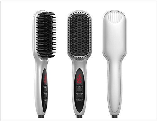 2 en 1 fer à lisser en céramique/bigoudi / peigne droit, pince à cheveux en pince à cheveux,Silver