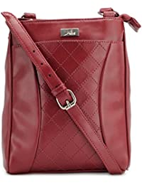 Yelloe Maroon Synthetic Leather Sling Bag With With Stich Effect In Front