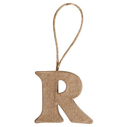 Rayher 67092000 Pappmaché Buchstabe R FSC Recycled 100%, 4x4,3x1cm, mi