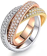 Barzel 18K Gold Plated Three-Tone & One Tone Swarovski Elements Crystal Rolling Rings (3-Tone, 8)