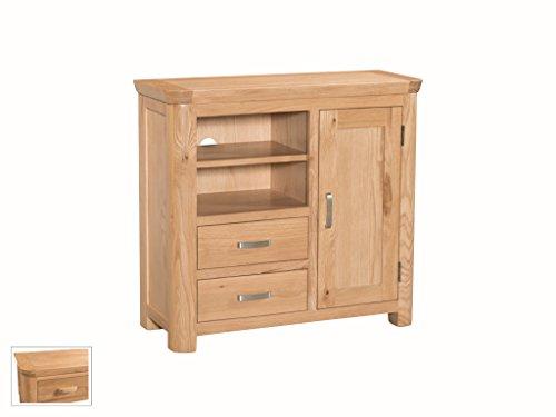 Bevel Natural Solid Oak Media Unit Sideboard with 2 Shelves, 2 Drawers and 1 Door – Finish : Light Oak – Living Room Furniture
