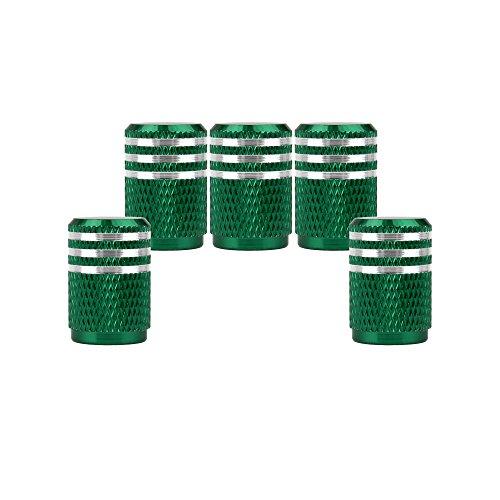 SENZEAL 5pezzi Bordo superiore argento tappi valvola Coprivalvola pneumatici per macchina verde