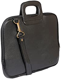 AVI Genuine Leather Black Executive Slim Laptop Bag Single Compartment