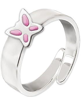CLEVER SCHMUCK Silberner Kinderring mit rosa Schmetterling flach und glänzend STERLING SILBER 925 universell einstellbare...