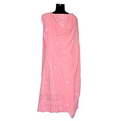 Suvinyas Anarkali Pure Georgette Best Dress, Chicken Embroidery Women Indo-Western Party Wedding Floor Lenth Dress, Chunni and Kurta Set(PINK)