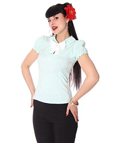 SugarShock Clairy Bubikragen Schlüsselloch Bluse, Größe:XXL, Farbe:Mint
