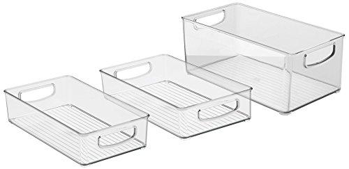mDesign 3er-Set Küchen Ablage aus Plastik – Aufbewahrungsbox für Küche und Speisekammer – auch ideal als Kühlschrankbox – durchsichtig