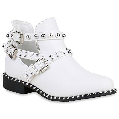 Damen Ankle Boots Nieten Stiefeletten Cut Outs Leder-Optik Schuhe 159108 Weiss 39 Flandell