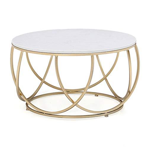 CSQ Wohnzimmer Couchtisch, Marmor Eisen Kunst Sofa Tisch Gold Runde Tabelle Kreative Esstisch Freizeit Lesetisch Beistelltisch (Farbe : 60 * 60 * 45CM) -