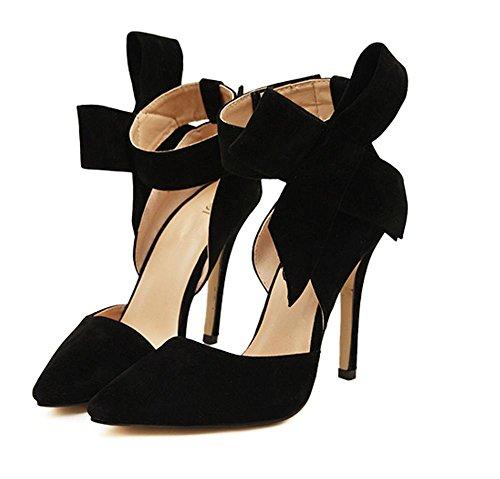 YMXJB Arc Ouest daim talons chaussures femme Black
