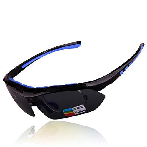 weiyoutong Polarisierte Sportbrille Fahrradbrille UV400 Schutz mit 5 Wechselgläser für Damen und Herren Radfahren Laufbrille ( Schwarz + Blau )