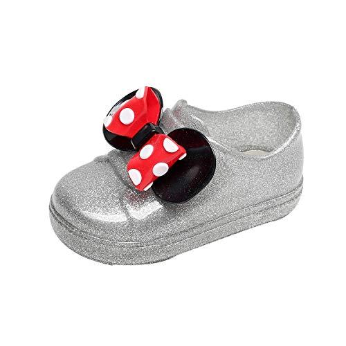 Kinder Regenschuhe Wasserdicht Säugling Mädchen Regen Schuhe Gummi Regenstiefel mit Punkt Bowknot XXYsm Silber 23.5 EU/12-15 Monate -
