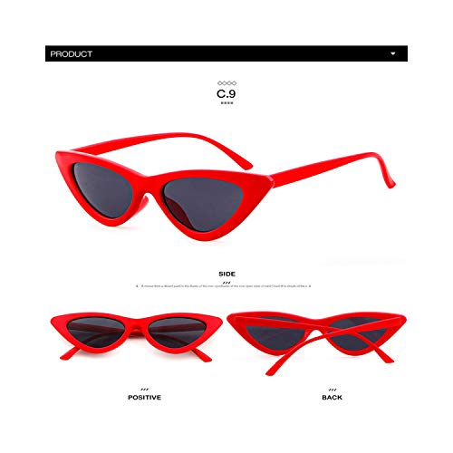 Sportbrillen, Angeln Golfbrille,Longkeeper Cute Sexy Retro Cat Eye Sunglasses Women Small Black White NEW Triangle Vintage Cheap Sun Gglasses Red Female UV400 C9