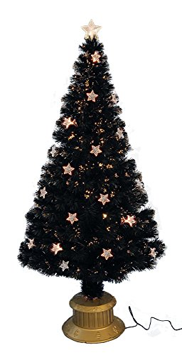 72 Inch Black Fibre Optic Christmas Tree With LED Stars - Pre Lit Christmas Tree's