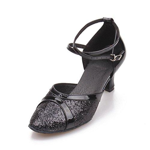 TMKOO& 2017 nuovi femminili scarpe da ballo latino donne paillettes di pelle quadrato vuoto scarpe di gomma di luce laser Nero