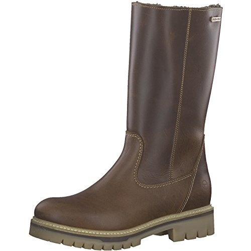 Tamaris Damen Stiefel 26492-21,Frauen Boots,Lederstiefel,Langschaftstiefel,Reißverschluss,Blockabsatz 3.5cm,Cognac,EU 40