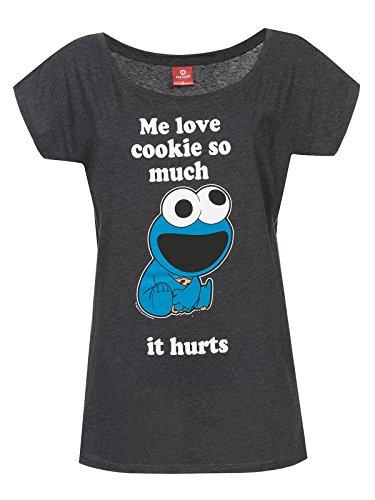 Sesamstraße Krümelmonster - Me Love Cookie T-Shirt dunkelgrau meliert S