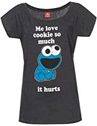 Barrio Sesamo El Monstruo de Las Galletas - Me Love Cookies Camiseta Mujer Gris Oscuro