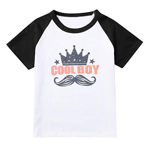 JUTOO Kinder Kinder Jungen Mädchen Sommer Kurzarm Brief Dinosaurier Gedruckt T-Shirt Tops Kleidung (Schwarz ()