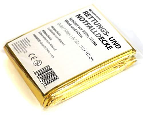 50 x Rettungsdecke Rettungsfolie Notfalldecke Gold/Silber 2,10 * 1,60