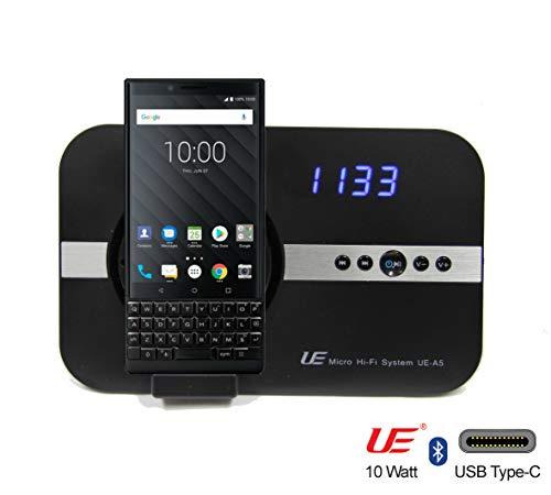 10 Watt Soundsystem mit Alarm Uhr, Radio USB-C für Blackberry Key2 LE KEY2 Motion Keyone mit USB Typ C mit flexibler Schnittstelle & Bluetooth Fernbedienung, Wecker Hi-Fi Tube Lautsprecher - schwarz (Alarm-radio-bluetooth-uhr)