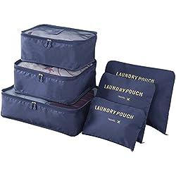 Organizadores para Maletas, OLTA 6 Set de Organizador de Equipaje, Impermeable Organizador de Maleta Bolsa para Ropa Sucia de Viaje, Material Nylon(Bleu marine)