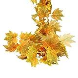 Ideapark-UK Künstliche Ahornblätter, Weinrebe, Herbstranken mit Bergwerk Simulation Kürbisse, Herbst-Ahornblätter, Girlande für Hochzeit, Party, Zuhause, Garten, Wanddekoration