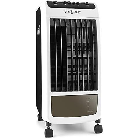oneConcept CarribeanBlue Climatizador, humidificador, ventilador con ruedas (70W bajo consumo, alta refrigeración 400m³ movimiento aire por hora, tanque de agua 4 litros, 3 niveles velocidades, filtros limpia acaros, polvo, negro-blanco)