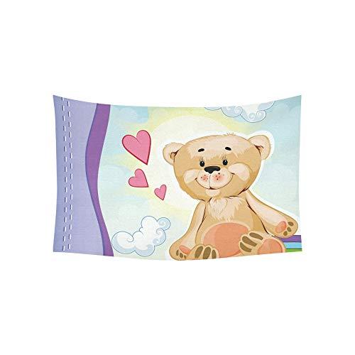 LMFshop Wandteppich Postkarte Teddybär Beige Farbe sitzt Wandteppiche Wandbehang Blume psychedelischen Wandteppich Wandbehang indischen Wohnheim Dekor für Wohnzimmer Schlafzimmer 60 X 40 Zoll