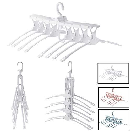 KEMANDUO Faltbare Kleiderbügel-Reise-Kleiderbügel-Multifunktionale Trockengestelle-Schrank Lagerung-Innen Kleiderbügel-Portable Kleiderbügel-Multi-Layer-Kleiderbügel-Retractable Trockengestelle , White
