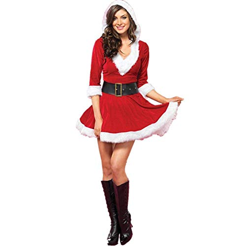 Kostüm Santa Mrs Kleid - Surenhap Kostüm Weihnachten, Kleid A-Linie Knielang, Mrs Claus Hooded Dress Sexy Plüschkante Partykleid für Weihnachten Cosplay Indoor-Aktivitäten Freizeit (Rot)