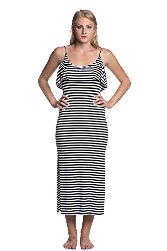 Abbino IG002 Vestito Donne Ragazze - Made in Italy - Multiplo Colori - Donna Mezza Stagione Primavera Estate Autunno Giovane Vestiti Donne Classico Eleganti Moda Saldi Moderno Tempo Libero Nero (Art. 8255)