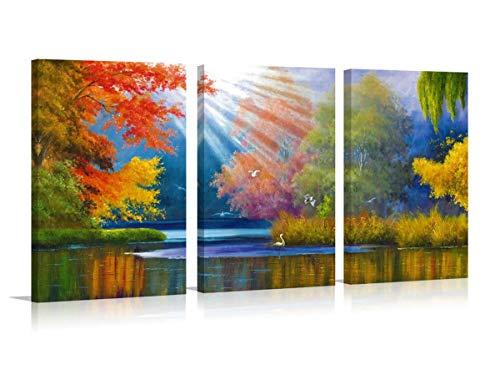 Kunstdruck Wandbild auf Leinwand Sunrise über See Landschaft Baum Home Dekoration Poster Wall Art Prints Modern Art Foto 3Platten Design Malerei ()