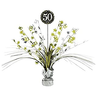amscan 110297 33 cm Gold Celebration 50th Centrepiece Spray