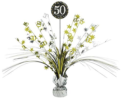 amscan 110297 Tischdekoration 50 Sparkling Celebration, Silber & Gold (Halloween-kostüm Girl Glamour)