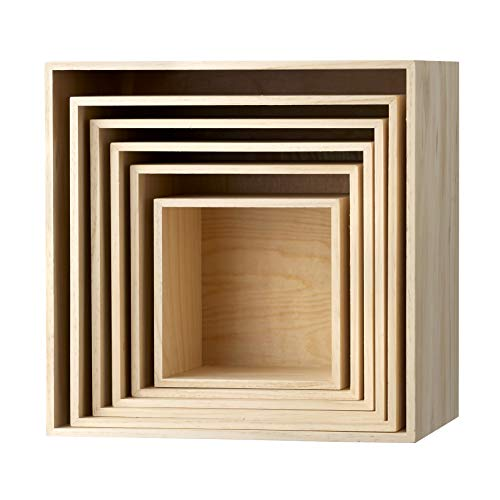 Bloomingville Regal Display Boxen 6er Set aus Paulownia Holz, Farbe:Natur -