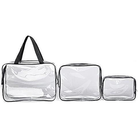 3pcs Cancella sacchi di PVC cosmetici per il trucco da