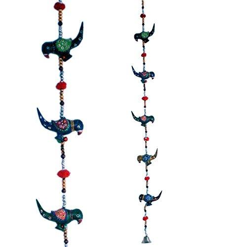 The Hue Cottage impiccagione porta rajasthani fiore all'occhiello artigianale arredamento d'interni porta disegno dell'uccello mantovana multicolore regalo in legno articoli 2 pezzi