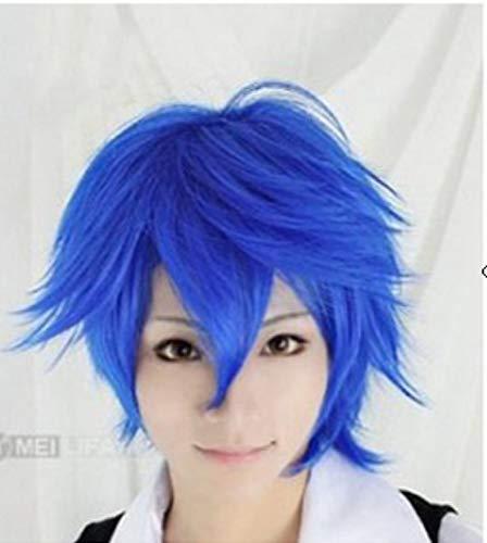 La perruque bleue de COS d'anime inclinant la perruque d'hommes, Modus Cospaly, perruque à la Boutou de BOB perruque quotidienne naturelle Kostüm für ()