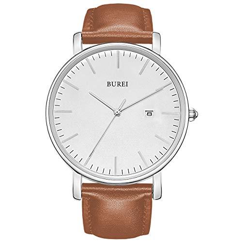 BUREI Stilvolle Minimalistische Ultra Slim Herren Uhr Weiß Datum Großes Gesicht Armbanduhr mit Braun Armband