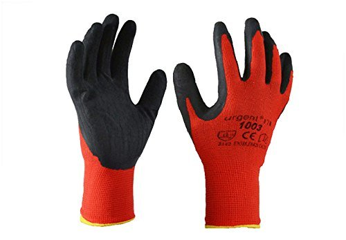 Rot Natürliche Seife (Urgent 1003-9 12 Paar Arbeitshandschuhe EN420 Kat I rot-schwarz 1003 (9))
