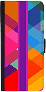 Snoogg Stripe Over Rhombuses 2795 Graphic Snap On Hard Back Leather + Pc Flip...