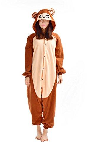 YARBAR Jumpsuit Affe Tier Onesies Karneval Halloween Kostüm Nachtwäsche Cosplay Pyjama Erwachsene Unisex (Kostüme Sexy Hamster)